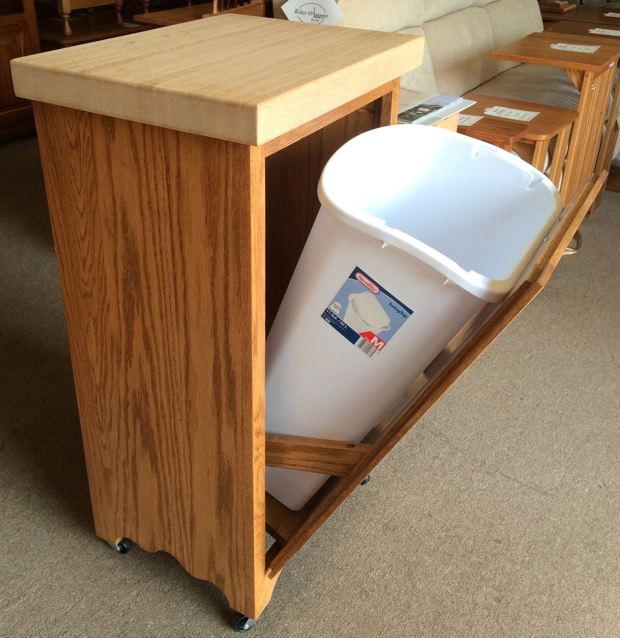 Tilt Out Trash Bin With Butcher Block Top Amish