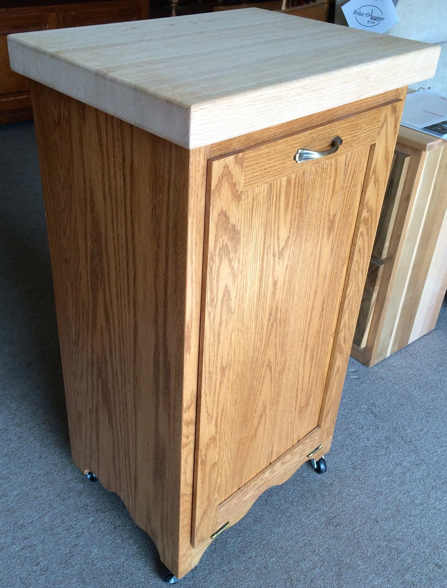 Tilt out trash bin with butcher block top amish traditions wv - Amish tilt out trash bin ...