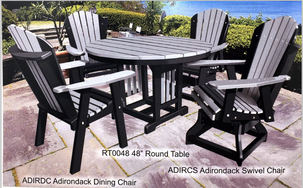 New For 2019!  Amish Maintenance Free Poly Round Picnic Tables Available in Different Sizes, Colors, Heights and with Different Chair Combinations!