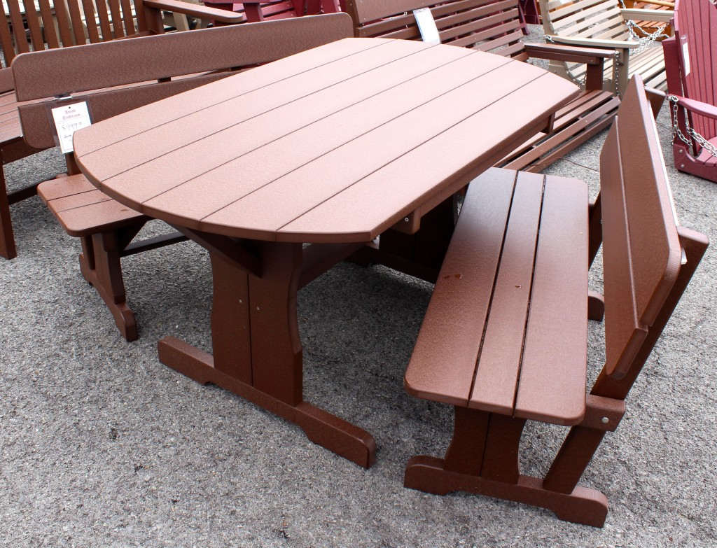 Poly Oval Picnic Table Set with Benches & Poly Oval Picnic Table Set with Benches | Amish Traditions WV