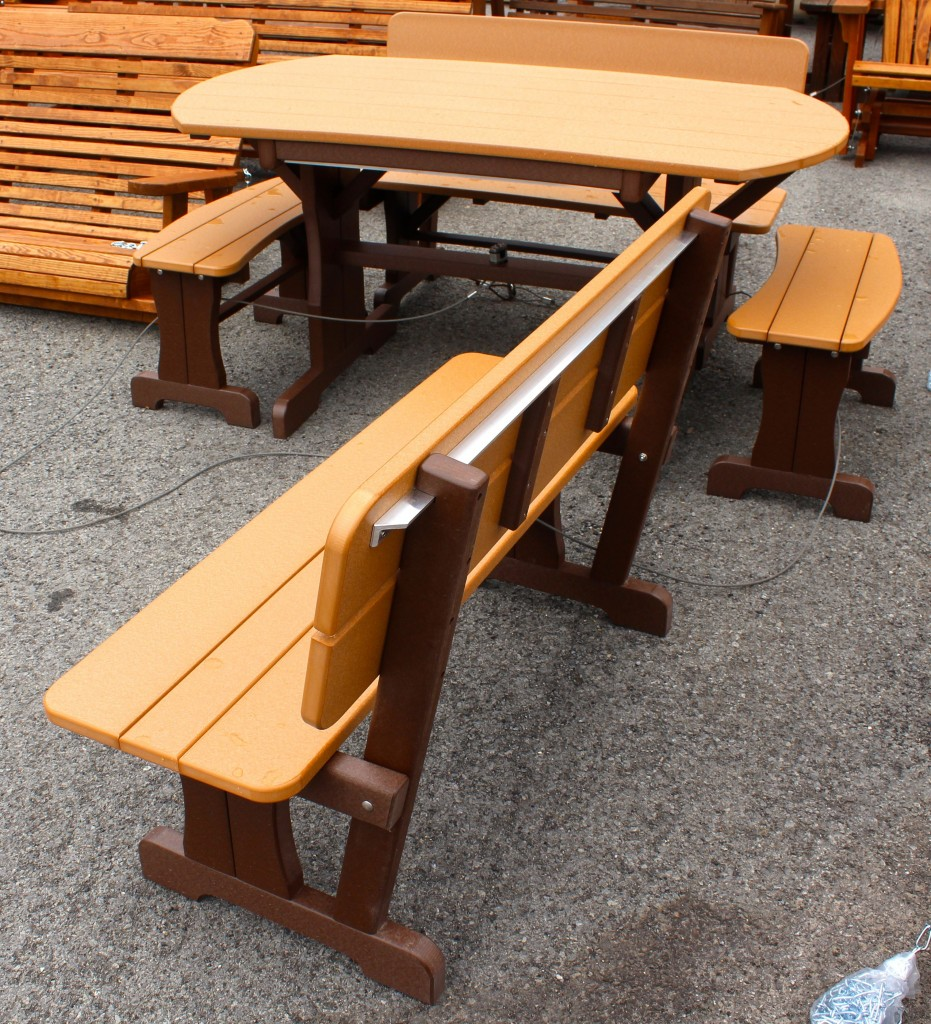 poly deluxe oval picnic table set with benches amish traditi