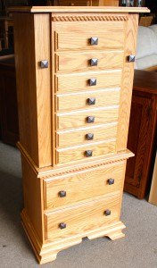 """48"""" Deluxe Jewelry Armoire with Clock Base and Berkshire Trim - $959.00"""
