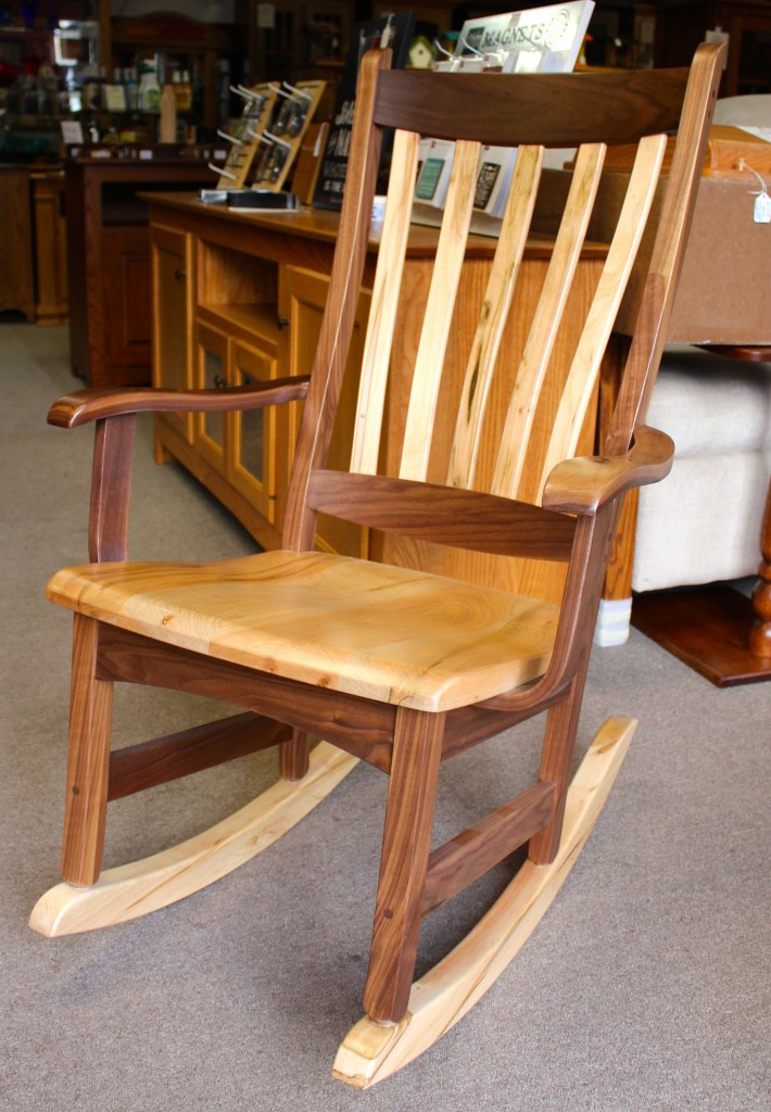 Captivating Benton Rocker In Walnut And Wormy Maple   $349.00