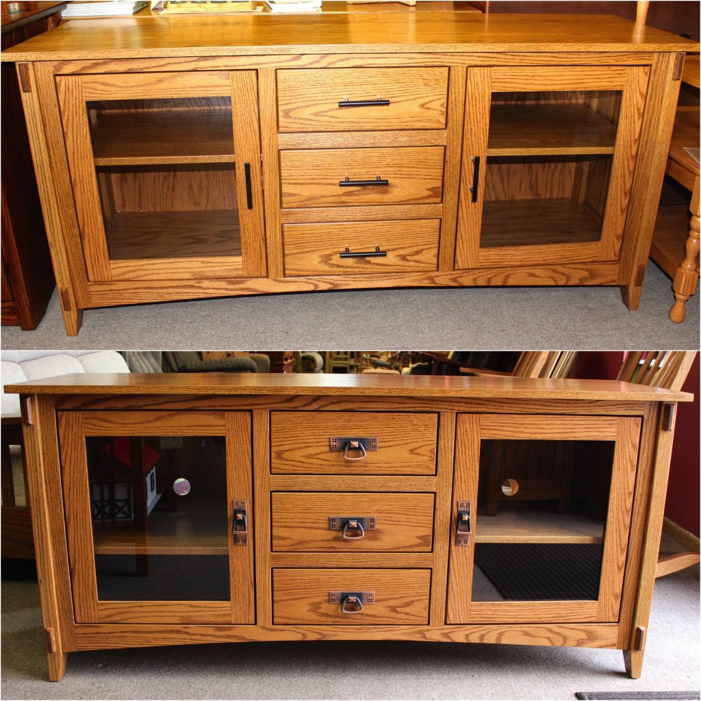 """Feel free to use your imagination when looking over our Amish Crafted TV Stands! This is an example of our Amish 62"""" Mission TV Console with two different types of hardware. Exact same piece, totally different look! Make your TV Stand yours by choosing your own stain color and hardware!"""