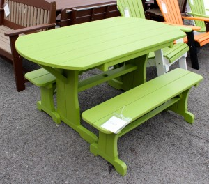 Poly 5' Oval Table with 2 Side Benches - $899.00