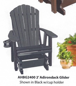 2' Poly Adirondack Glider - $399.00 [Cupholder Additional $25.00]