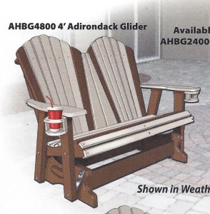 Poly 4' Adirondack Glider - $589.00 [Optional Cupholders +$25 Each]