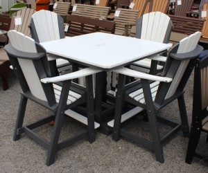 44″ Square Counter Height Table and Adirondack Chair Set