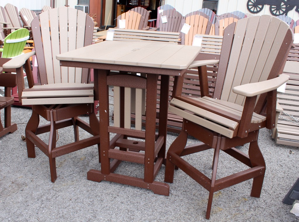 Poly Square Bar Height Table and Adirondack Swivel Bar Stool Set