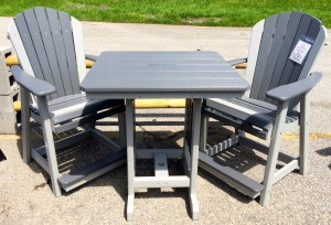 Poly 33″ Square Counter Height Table and Adirondack Stationary Chair Set