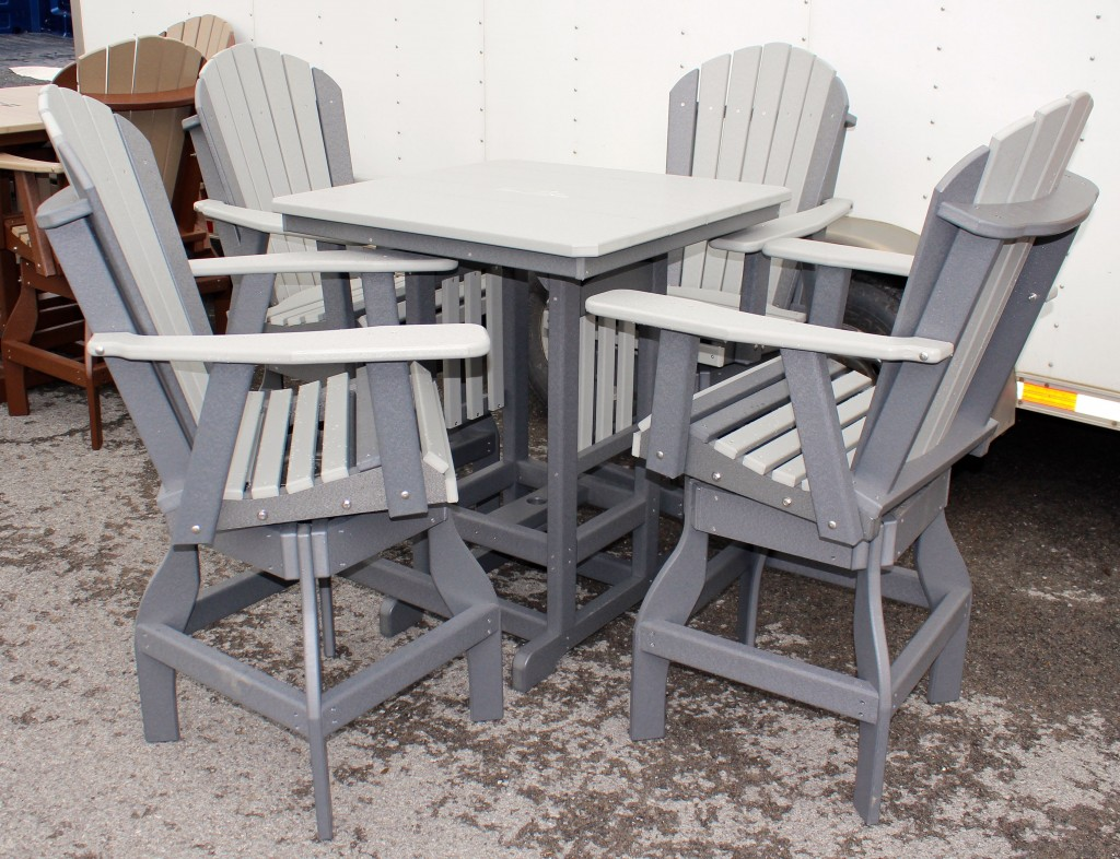 Poly 33″ Square Bar Height Table and Adirondack Swivel Bar Stool ...