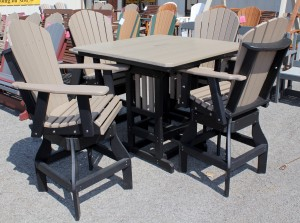 Poly 44″ Square Bar Height Table and Adirondack Swivel Bar Stool Set
