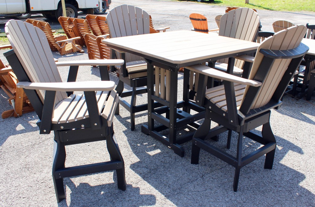 Poly 44 Square Bar Height Table And Adirondack Swivel Bar