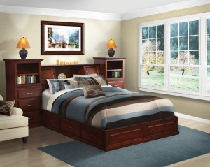 All In One Bookcase Pedestal Queen Bed, Brown Maple - $3,269.00