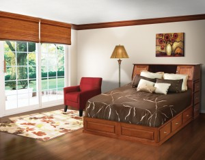 Space Saver Bookcase Pedestal Queen Bed, Brown Maple - $2,989.00