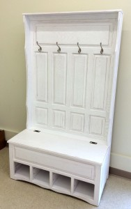 Raised Panel Hall Seat with 4 Panels, Cubbies and White Rubbed Through Finish - $899.00