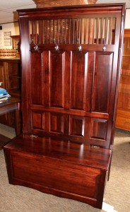 Raised Panel Hall Seat with 4 Panels and Mission Slats in Top - $759.00