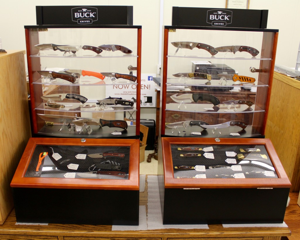Large Assortment of Buck USA Knives - This is Just Two of Six Total Showcases!