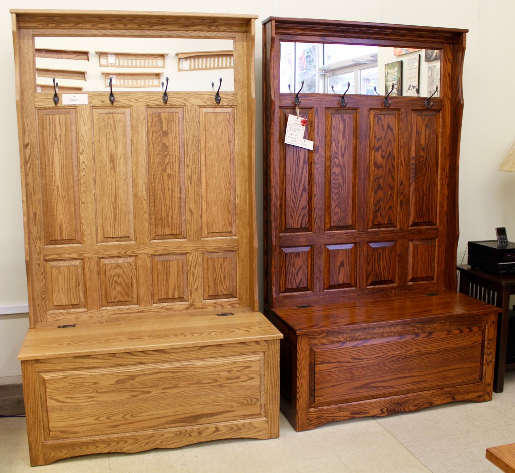 Many Stain Colors Available! This is the same Hall Seat only shown in two different stain colors!