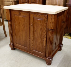 Turned Leg Island With Butcher Block Top - $1,669.00