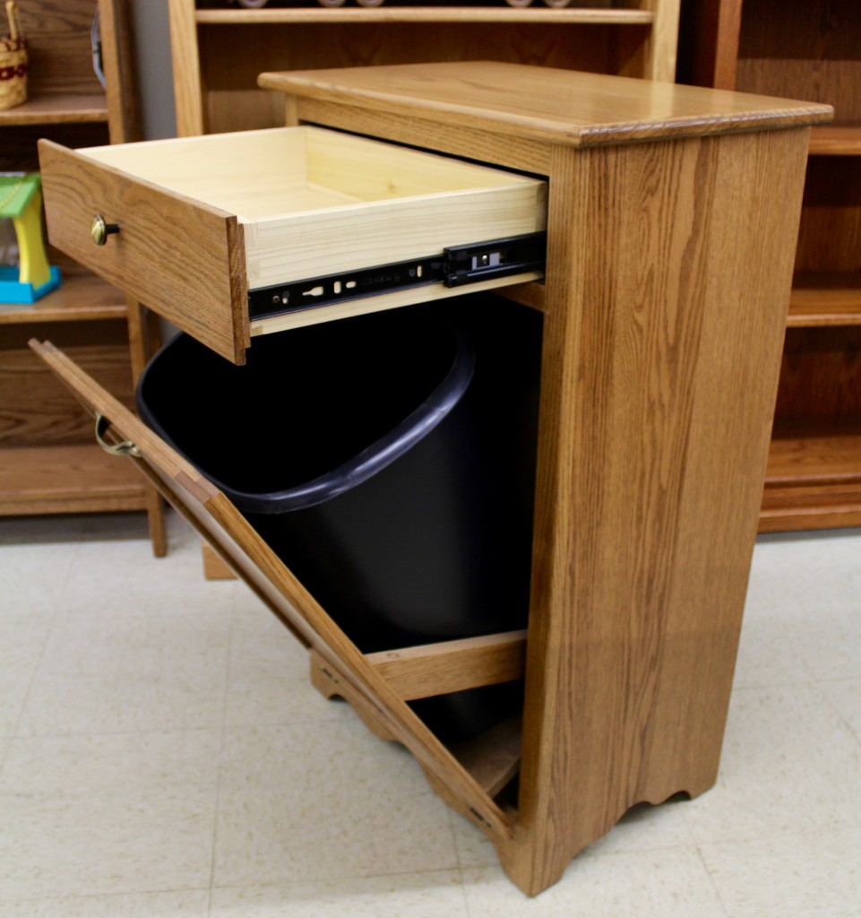 Tilt Out Trash Bin With Drawer Amish Traditions Wv