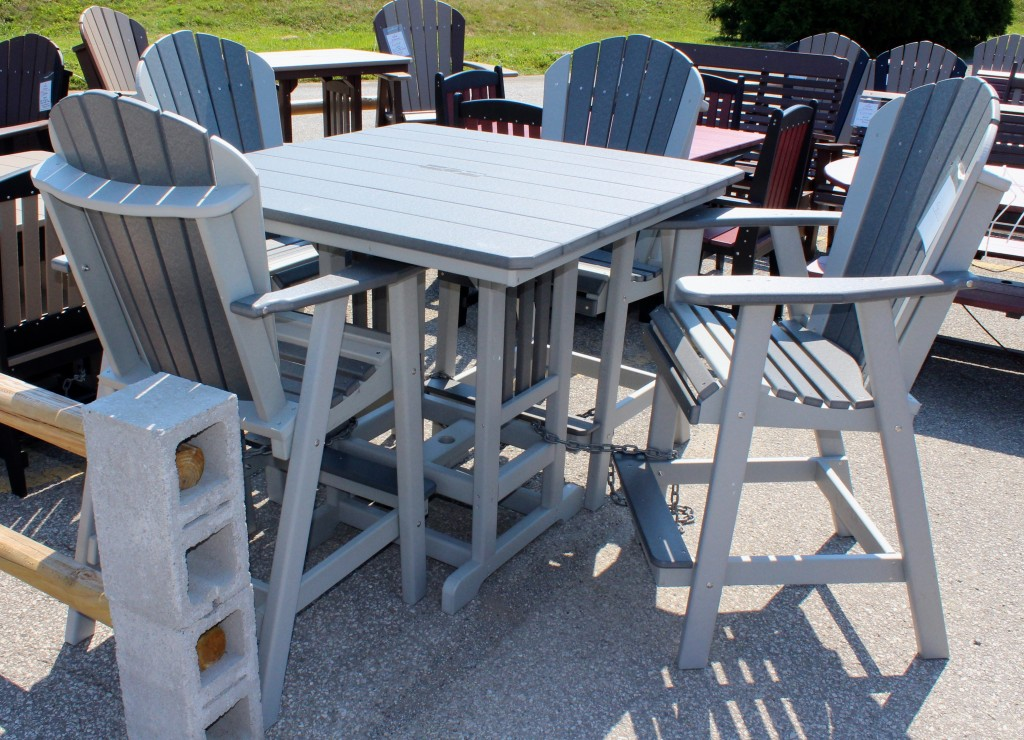 Poly 44 Square Bar Height Table And Adirondack Chair Set