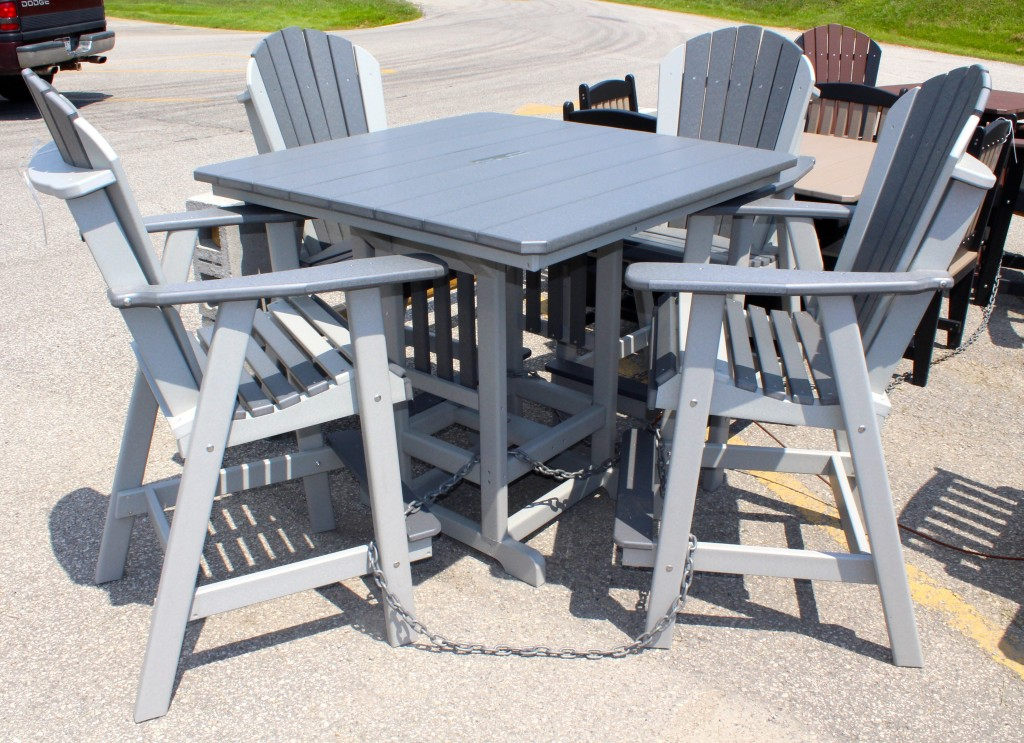 Poly 44u2033 Square Bar Height Table And Adirondack Chair Set