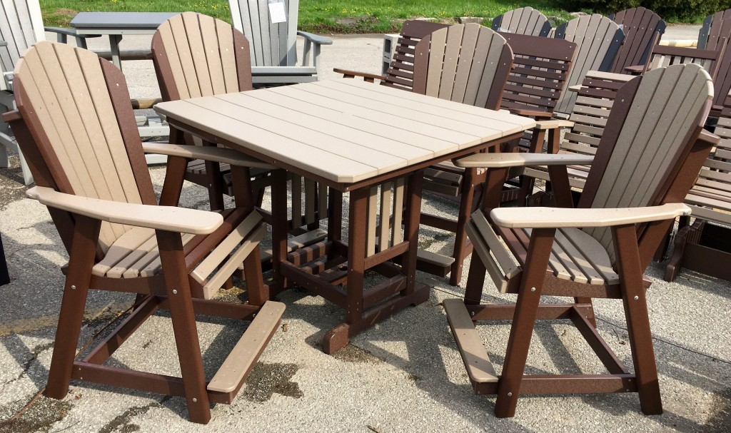 Poly 44u2033 Square Counter Height Table And Adirondack Chair Set