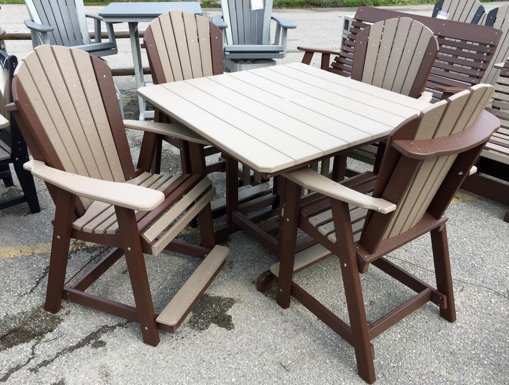 Counter Height Adirondack Chairs : Poly 44? Square Counter Height Table and Adirondack Chair Set ...