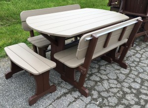 Poly Deluxe Oval Picnic Table Set with Benches – $1,319.00