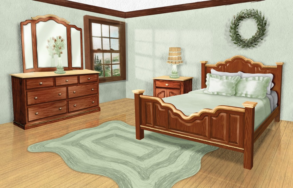 Amish Cherry from the Heart Bedroom Set