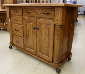 Amish Narrow Turned Leg Island with Casters - $1,939.00