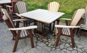 Poly 44″ Square Regular Height Table and Adirondack Dining Chair Set - $1,499.00