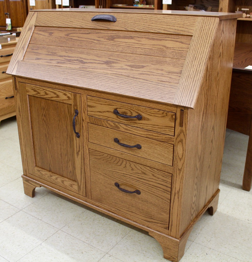 The Deluxe Secretary Desks Feature Wooden Supports That Automatically Extend And Contract When You Raise Lower Lid Push Play For A Demo