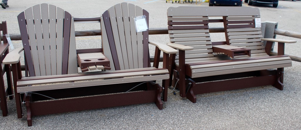 Our Amish Poly 5' High Back Glider is Now Available with Fold Down Center Console! See Links Below For Details!