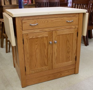 Brookline Mission Island with Butcher Block Drop Leaf Top, Enclosed Base & Casters – $1,589.00