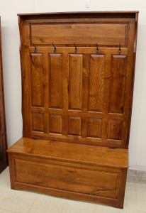 Raised Panel Hall Seat with 5 Panels - $759.00 in Oak Wood, $819.00 As Shown in Rustic 1/4 Sawn Oak