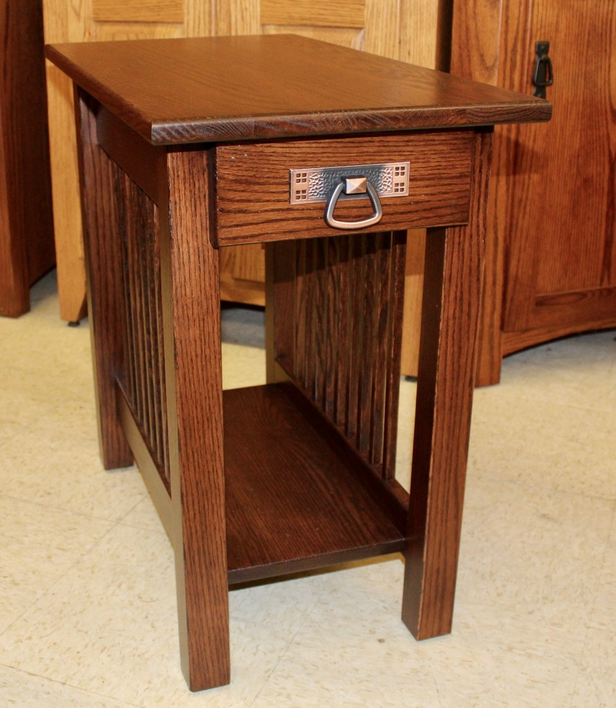 Mission Chair Side Table With Drawer
