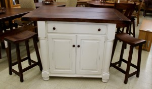 Turned Leg Island with Rough Sawn Top - $1,859.00 As Shown [Stools Extra If Needed]