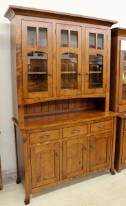 "Vienna 56"" 3-Door Hutch - $2,219.00 in Oak Wood, $2,439.00 As Shown in Rustic 1/4 Sawn Oak"