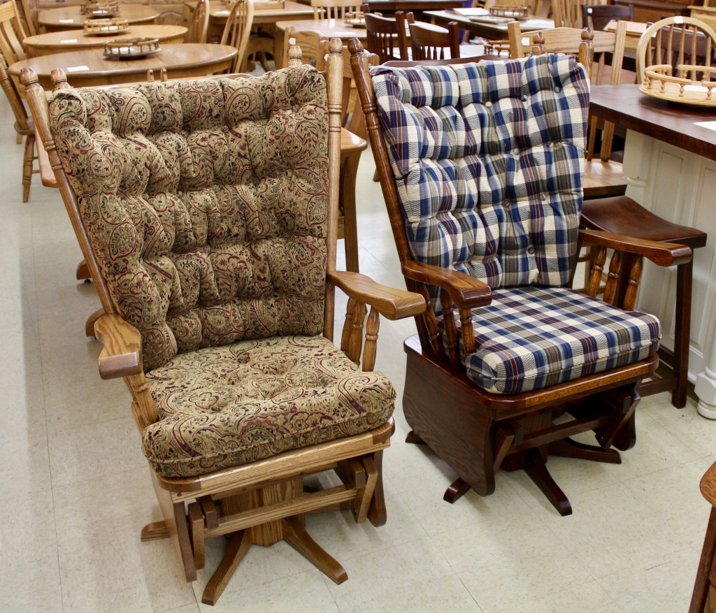 Many Glider Styles and Sizes Available - All Available in Different Wood Species, Stain Colors and Fabric Choices!