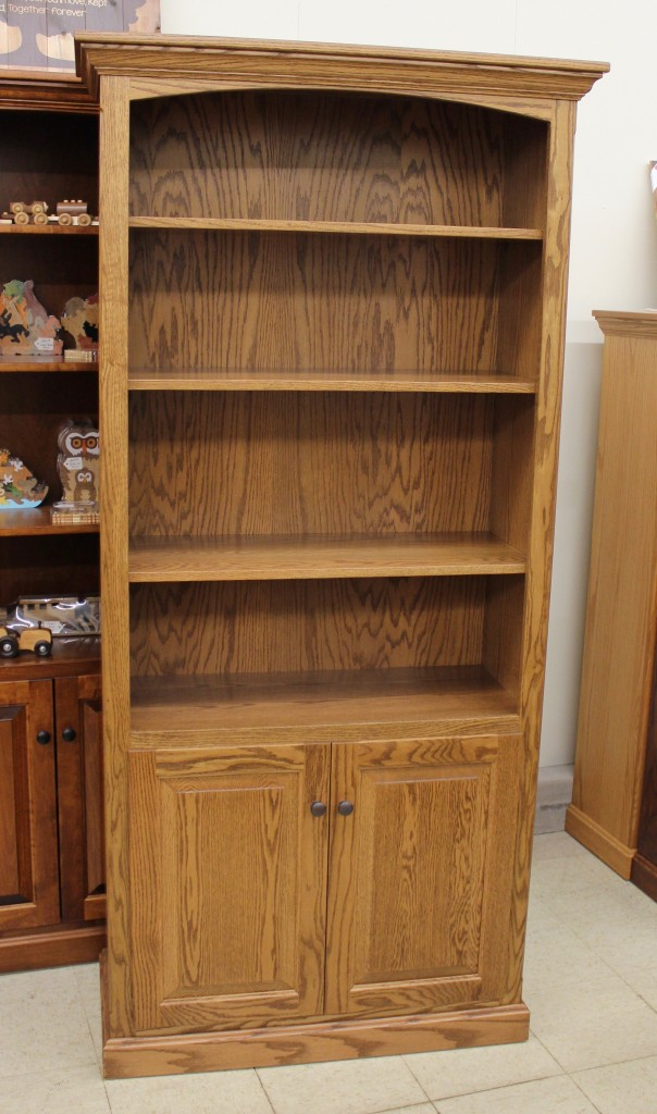 wide bookcase with doors