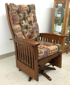 Deluxe Mission Glider with Swivel - $819.00 in Quarter-Sawn Oak Wood As Shown, $689.00 in Regular Oak