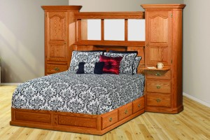 Deluxe All In One Traditional Fluted Bookcase Pedestal Queen Bed - $4,399.00
