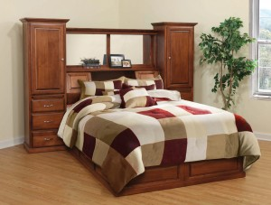 Deluxe All In One Traditional Bookcase Pedestal Queen Bed – $4,089.00
