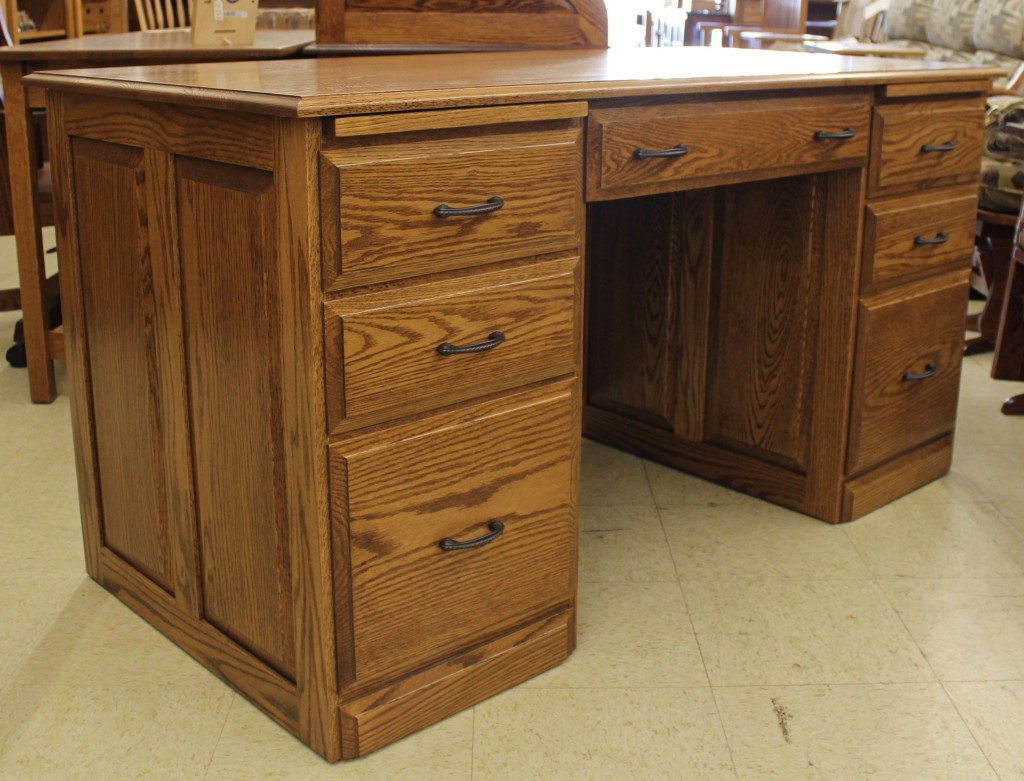 58″ Traditional Double Pedestal Executive Desk Amish Traditions WV. Full resolution‎  portrait, nominally Width 1024 Height 781 pixels, portrait with #6E441F.