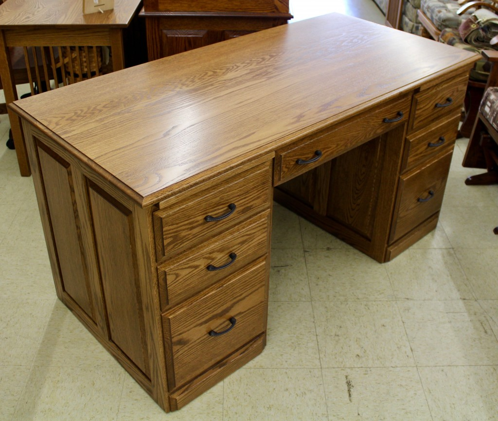 58″ Traditional Double Pedestal Executive Desk Amish Traditions WV. Full resolution‎  portrait, nominally Width 1024 Height 866 pixels, portrait with #35200A.