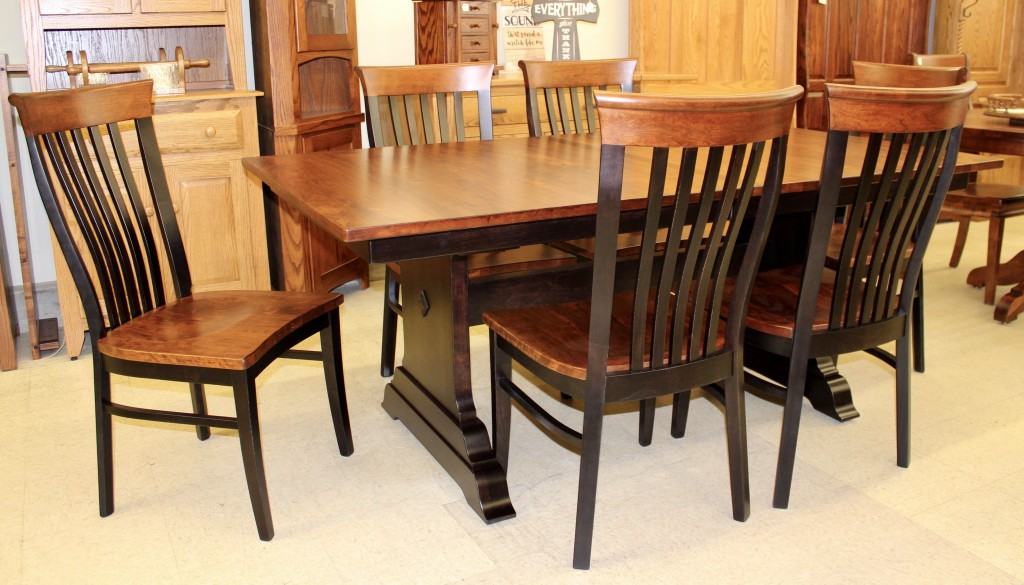 Hoover Double Pedestal Table In Rustic Cherry And Two Tone