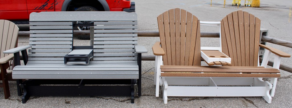Interested in Outdoor Furniture? Introducing Two New Colors for 2017! Antique Mahogony and Driftwood Gray colors are manufactured to imitate the natural characteristics of Wood, yet both are made of Poly Lumber. If you like Wood but don't want the upkeep, consider these options!