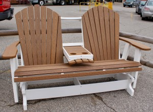 Poly 5′ Adirondack Glider with Fold Down in Antique Mahogany - $789.00